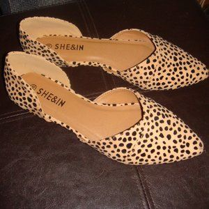 Shein Leopard Faux Suede Pointed Toe Flats 10